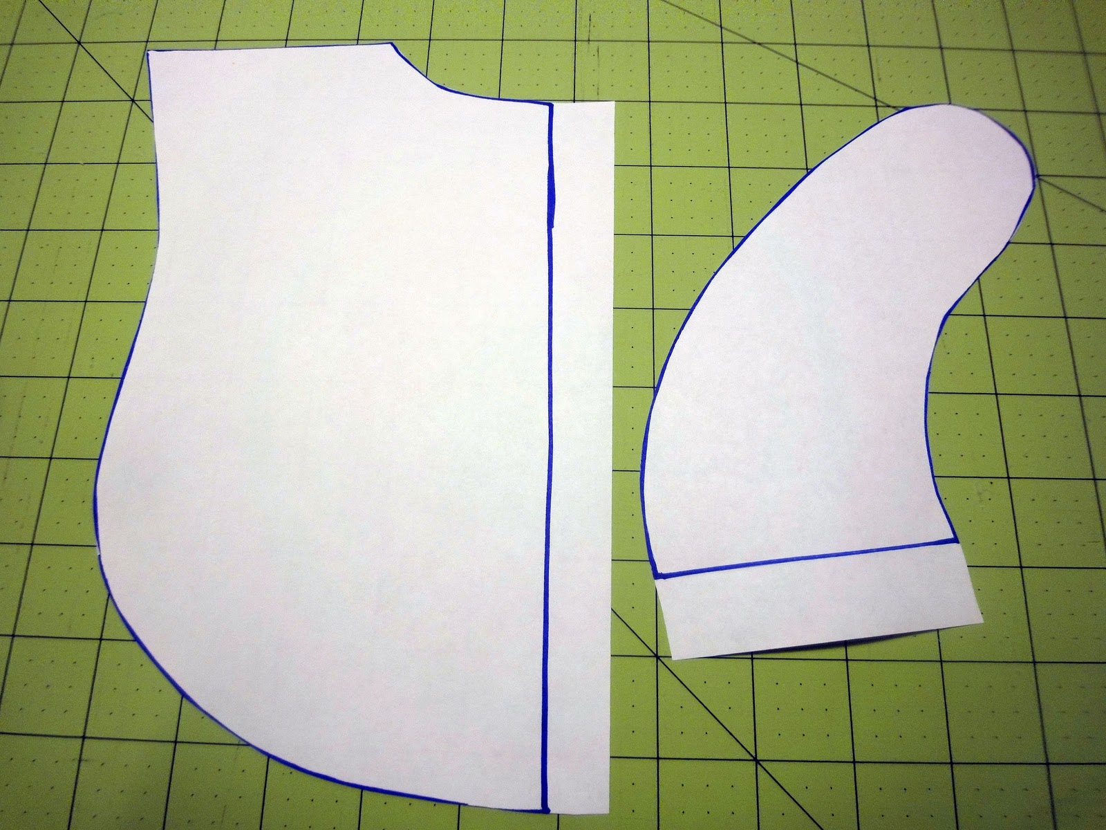 Tape together your bib pattern piece.